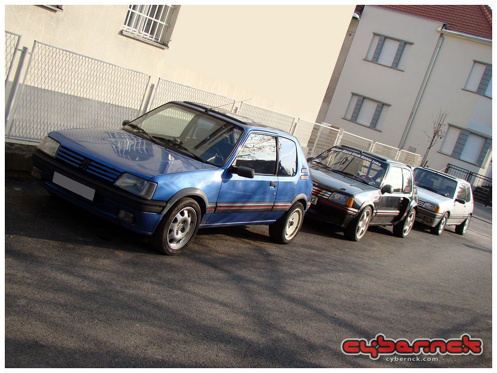 """Three 205's (with four engines :-)) but unfortunately one too many. Since I was just about to start restoring my full stock Ph1.5 Silver 205 GTI 1.9 (aka 205 GTI 999), it was a very difficult choice - made even harder as Ph2 Miami Blue with 16v engine was a receipt for my """"dream spec"""" 205."""