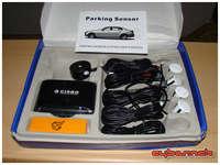 "Cheap chinese rear parking sensors off eBay - a bit ""paranoid"" (i.e. too sensitive) but should do their job."