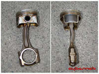 Bent in all three dimensions! Luckily, the crank escaped unharmed. A replacement conrod and piston were sourced.