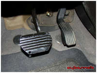 Mounting the brake pedal using supplied allen screws is straightforward after removal of the original rubber pedal cover, as the holes for the screws are already there.