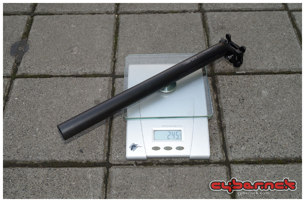 Syncros RR1.2 Carbon seatpost 27.2/350 mm is exceptionally heavy @ 245 grams, so there's an area for weight savings in the future. The post itself is light - the hardware is the heavy part. At least it's compatible with oval carbon seat rails. The seatpost came with the bike - my beloved Fizik Cyrano Carbon is of no use as it is 31.6.