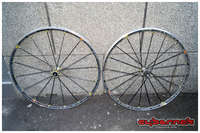 Here's a temporary upgrade, in the form of Mavic R-Sys fancy-pants lightweight wheelset with carbon spokes.
