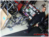 My bike mechanic Nikola in his usual state of madness.