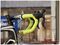 The final touch was adjusting the riding position and wrapping the handlebars in Deda lime green bar tape. I was originally thinking of going for silver tape, but in the end I decided to personalise it and add a bit of contrast using my company's trademark colour.