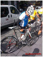 Stephen Roche (Triple Crown of victories in the Tour de France and the Giro d'Italia stage races, plus the World road race championship) - checking out his bike for the day - brand new Look 675.