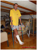 It turned out I damaged the ligaments and had to have a cast put on, which meant the end of this year's season for me :-(.