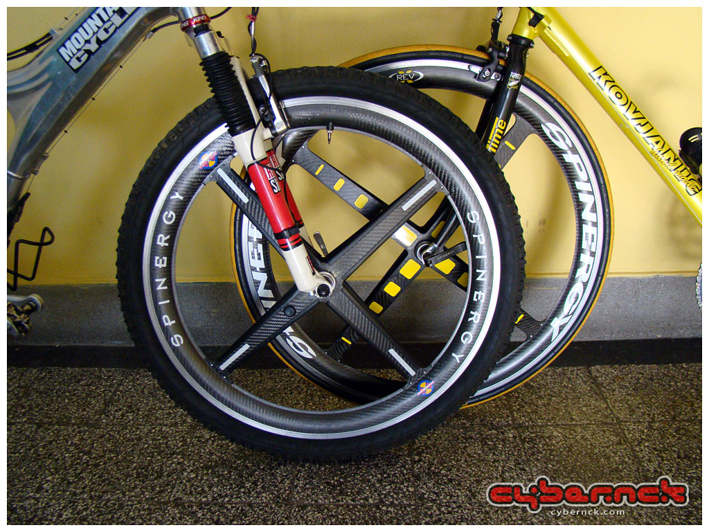 """My 26"""" and 28"""" Spinergy carbon wheels together - a really rare sight :-)."""