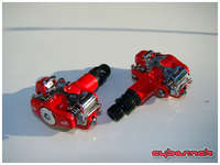 VP 104 SPD pedals, like the ones I used to have, but in red.