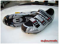 Shimano SH-M160 MTB-specific shoes with carbon sole and three straps - no more slippery and dangerosu steps in road shoes!
