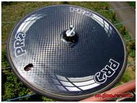 """Since I wasn't happy with the """"ZIPP"""" disc wheel, I sold it and bought this new PRO (by Shimano) tubular disc wheel. 12K carbon, Dura Ace hub and about 1200g in weight."""