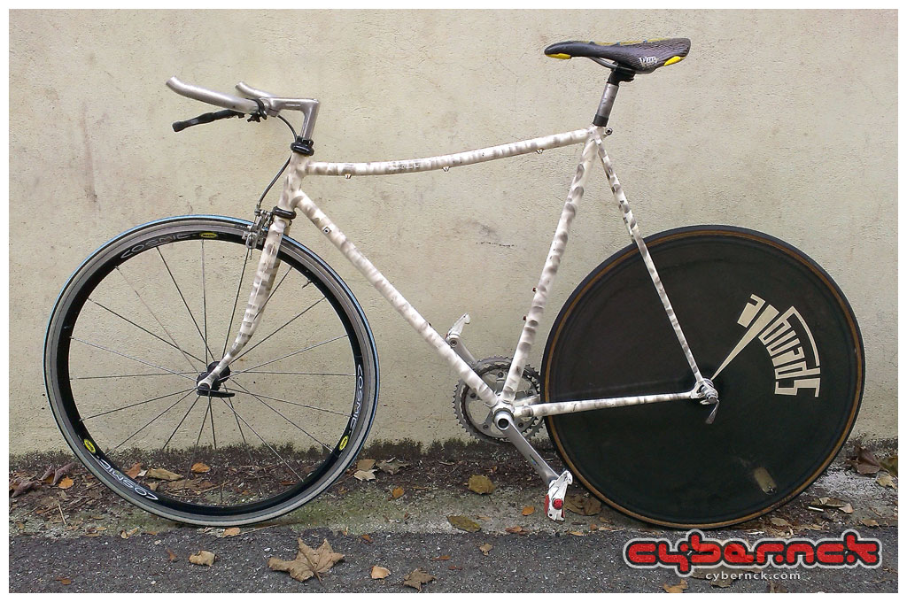 The reason I wanted one is to build a track-esque single-speed bike, so I threw some parts together to make one.